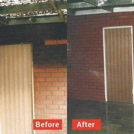 High pressure water cleaning of smoke damage before and after