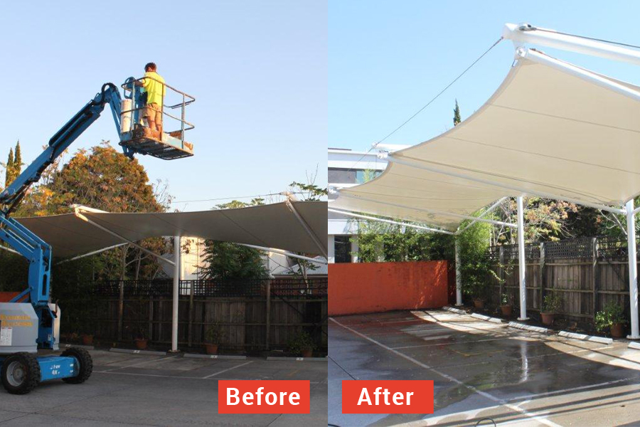 View some of our recent before and after shots of shade sails canopies u0026 awning cleaning weu0027ve completed across Melbourne by clicking on the images below. & Shade Sails Cleaning u0026 Maintenance Services Melbourne.