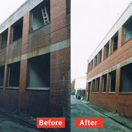 Removal of rust, grime and pollution building washing